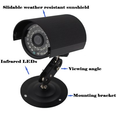 Waterproof Indoor Outdoor Black Bullet Security CCTV Camera
