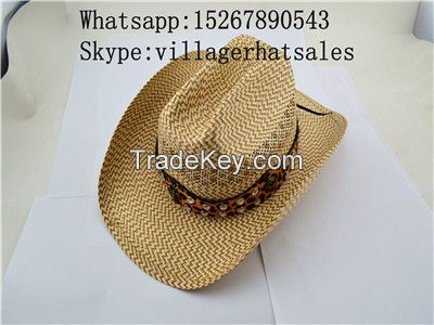VG-MW001Cowboy Hat with Leather Ling, Customized Logos are welcomed