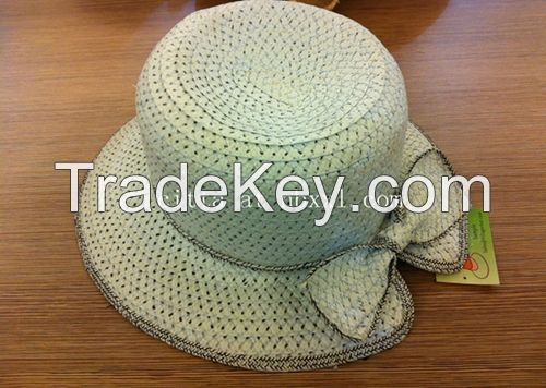 VG-WV009Women's Visor straw hat in heather effect metal chain twisted