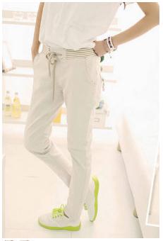 Solid Color Drawstring Cotton Korea Stylish Pants For Women