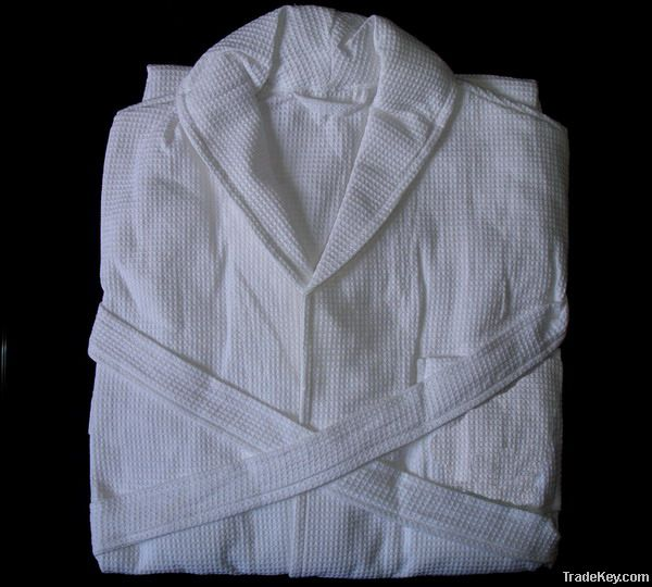 White waffle cotton bathrobe