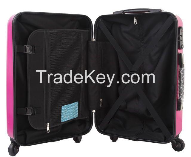 Rose red TSA locked luggage with 210 D nylon lining