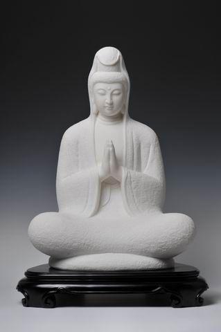 white mabble religious buddha status