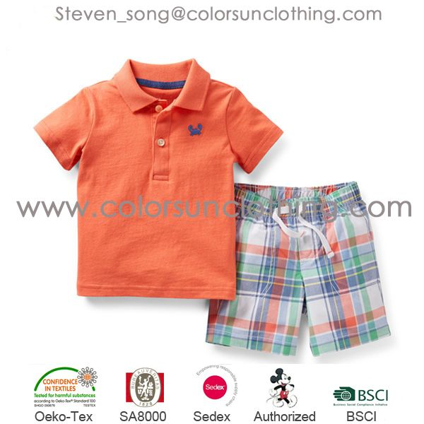 Hot sale summer Boys clothing set Baby Boys Casual Clothing Sets 2014 Kids Apparel Hippo T-shirt+ Short Pant