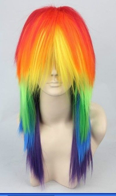 Beautiful multi color long straight Heat Resistant cosplay wig