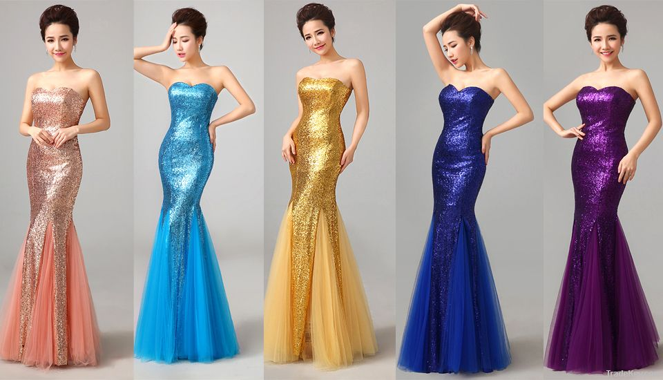 Wholesale Cheap Evening Dresses Fishtail Sequined Long Wedding Dress