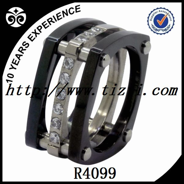 titanium ring CZ , black plating