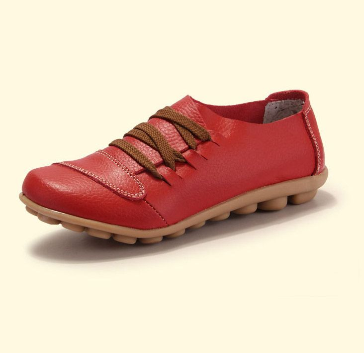 SUNROLAN Women Flats Hand Made Genuine Leather Shoes New 2014 Fashion Woman Loafer