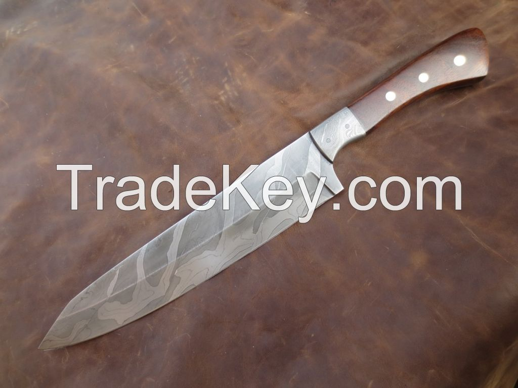 Custom Hand Made Chef Knife, Antique Twisted Pattern 12 Inches