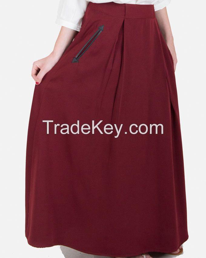 SSK407-Leather Pocket Plain Flare Maxi Skirt