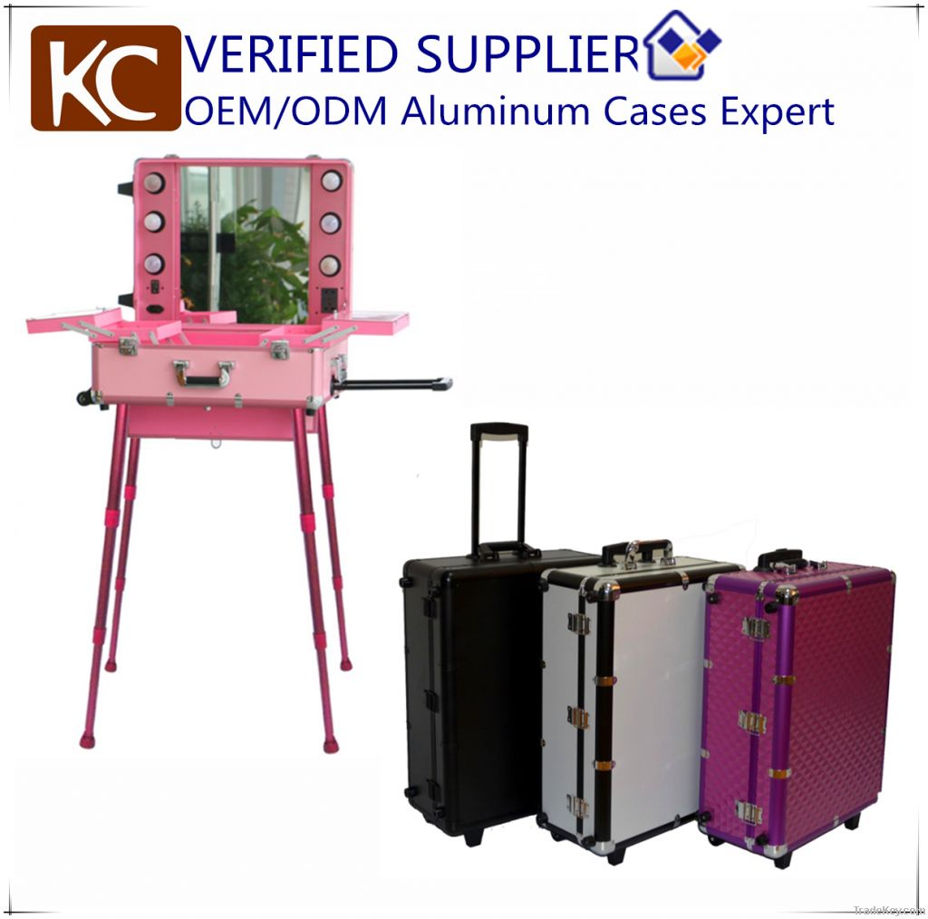 Mobile Professional Aluminum makeup case with lights