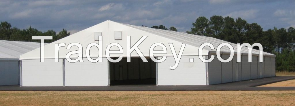 Aluminum clear span tents for industrial storage and warehouse