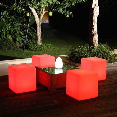 16 color changing illuminated Remote control waterproof IP65 outdoor use RGB LED cube chair