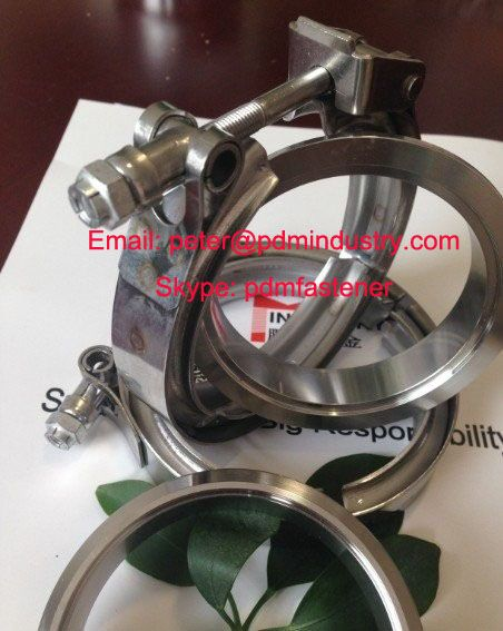 auto exhaust V band clamp with flanges