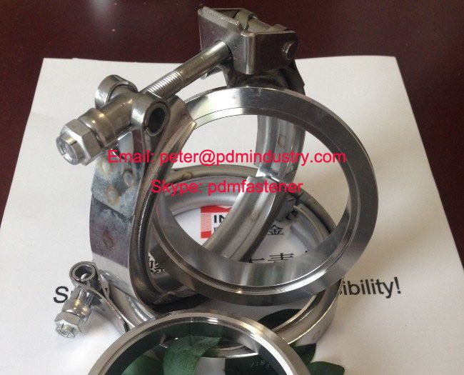 stainless steel quick release exhaust V band clamps with male and female flanges
