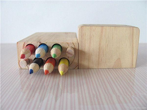 2014 New design natural wood color pencil 12pcs set with pencil box