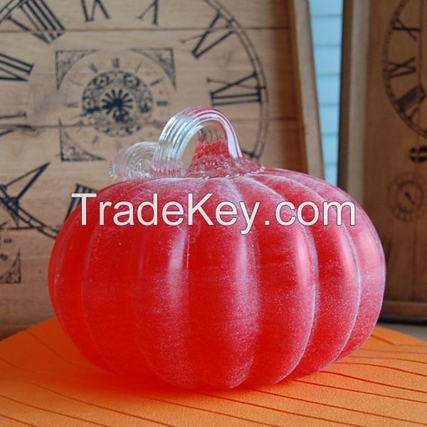 2015 New Arrival wholesale Hand-blown Orange Glass Pumpkin
