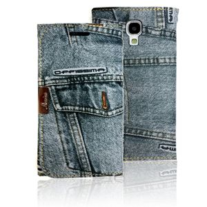 Mobile Phone Case Jeans Denim Fablic Texture Wallet Type Card Slot Manetic Holder vertical slot fashion item