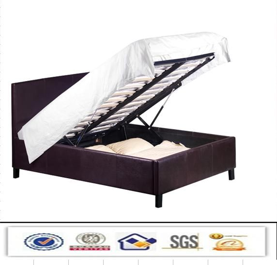 modern double faux leather storage bed