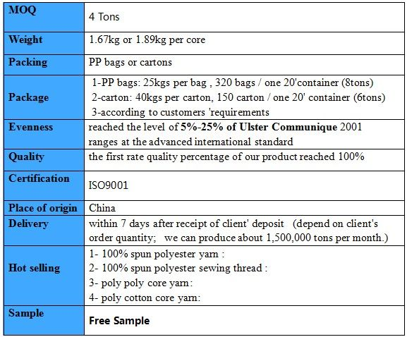 raw white 40/2 polyester yarn for sewing