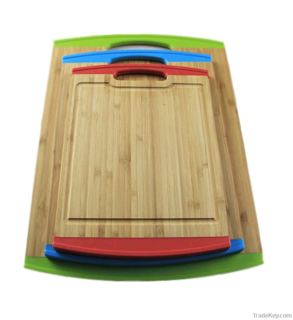 wholesale bamboo cutting boards with TPE colorful handle