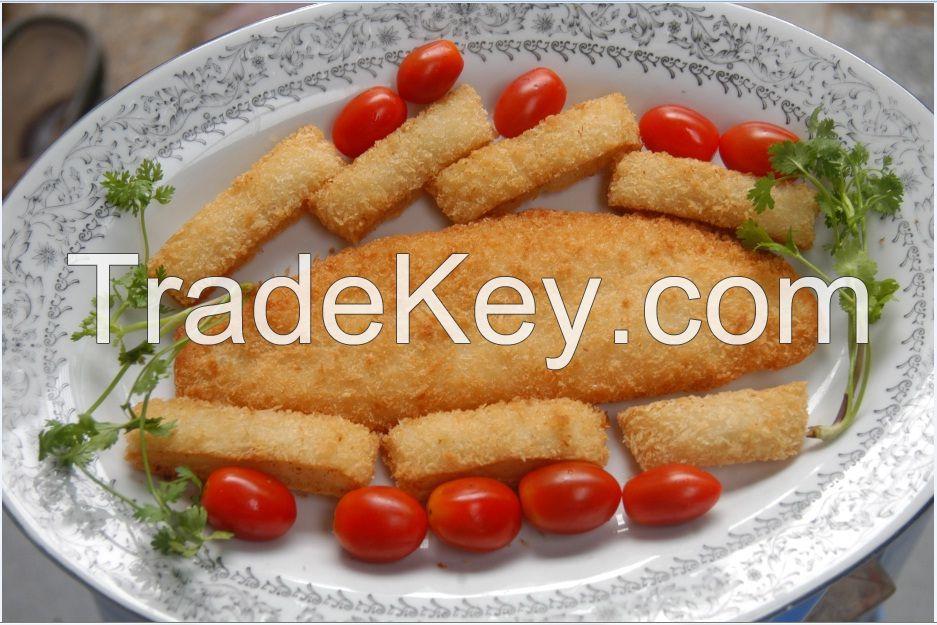 Pangasius fillets, steak, breaded, rolls,