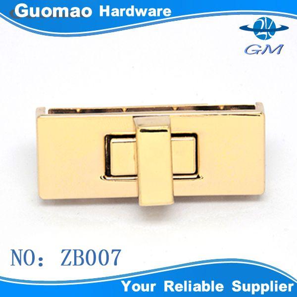 Rectangle elegant gold handbag metal lock