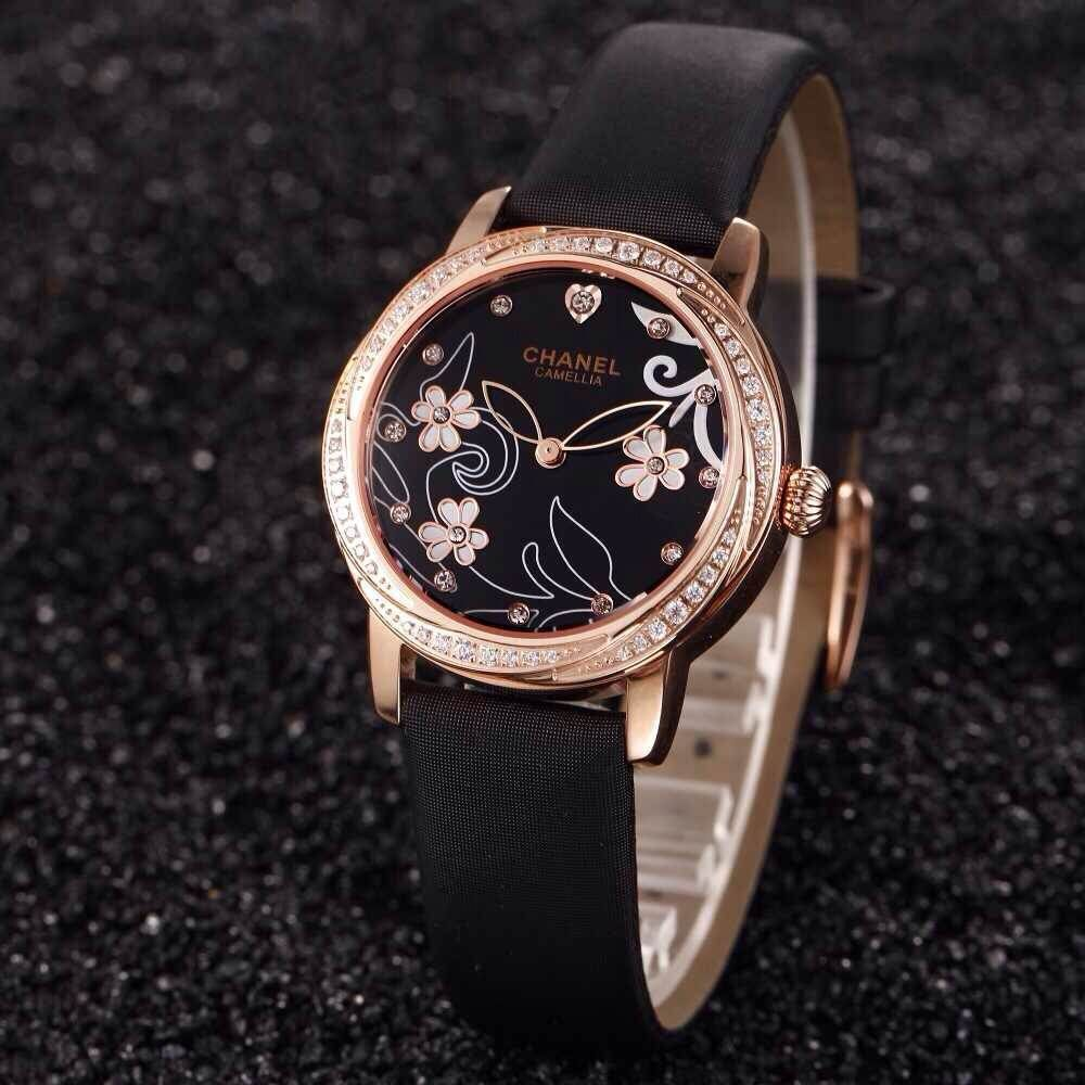 wholesale fashion flower lucky brand steel case watch,women quartz watch ,sapphire mirror leather band water resistant watch