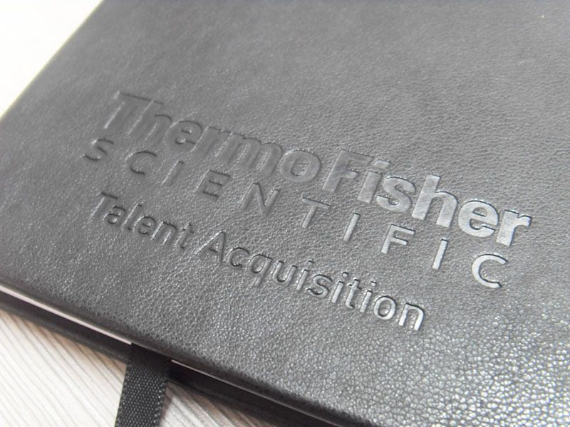 Custom leather feel PU cover notebook with elastic band and pocket