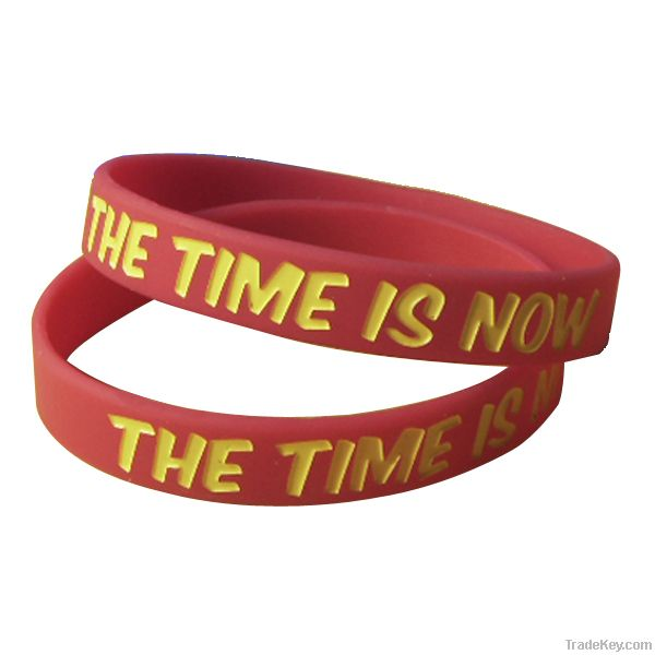 Debossed and color filled silicone wristbands