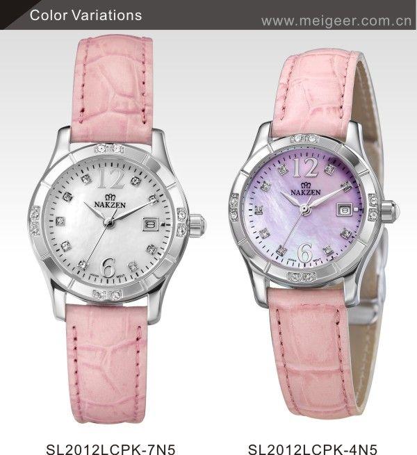 All Stainless Steel Beautiful Shell Surface Diamond Pink Leather Women Wrist Watch