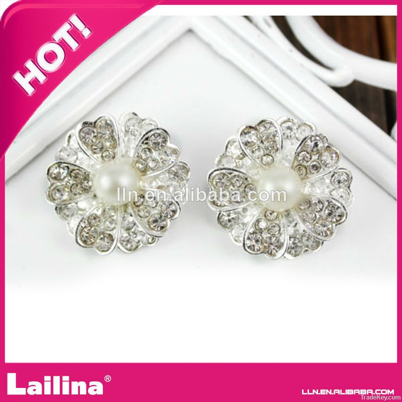 wholesale 26mm  Flat back rhinestone pearl button