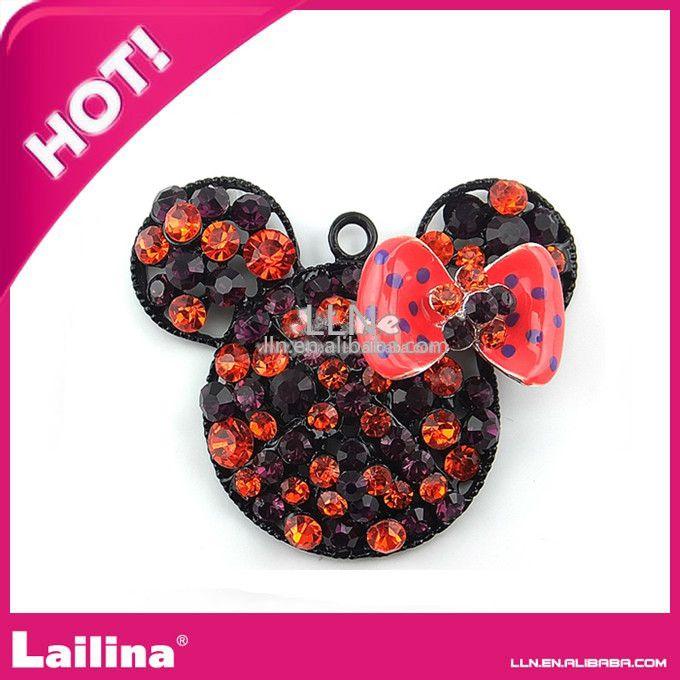 Fashion 48mm rhinestone minnie mouse chunky necklace pendant
