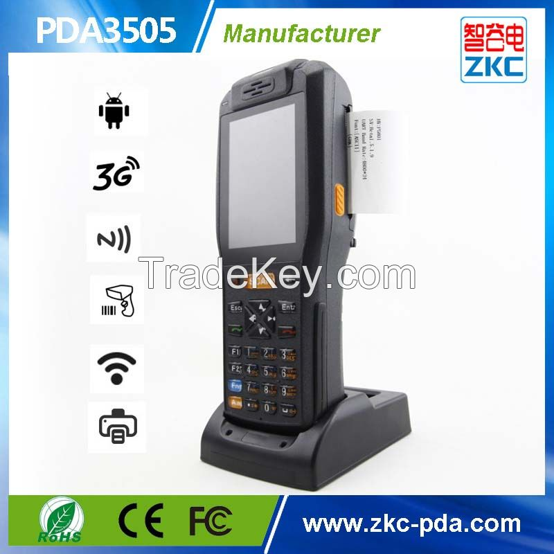 Handheld Android PDA with printer barcode scanner 3G WIFI RFID reader
