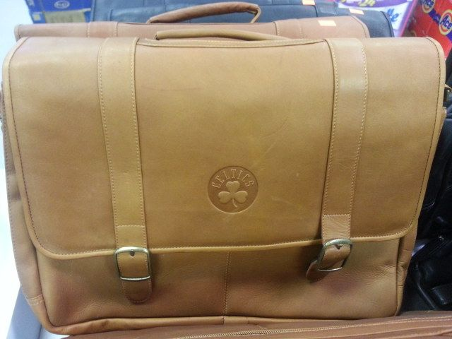 Genuine Leather Pangea Brand Sports Logo Laptop Briefcases