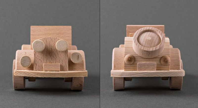 Wooden toy car made by hands.
