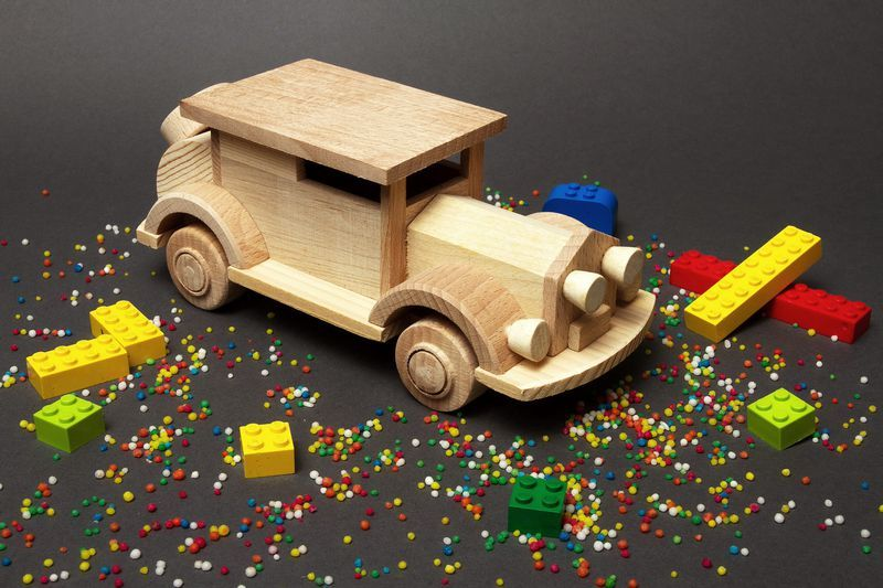 Wooden car made by hands.