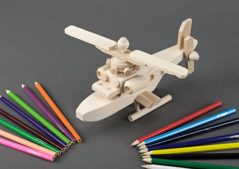Environmentally friendly toy wooden helicopter.