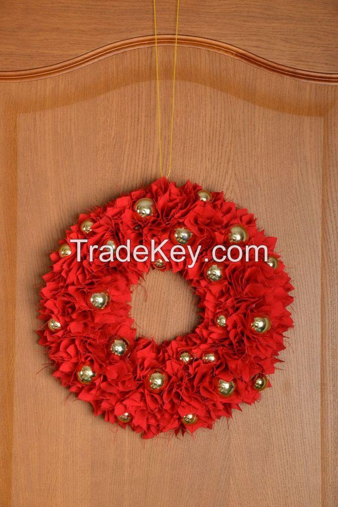 Decorative New Year s wreath on the door