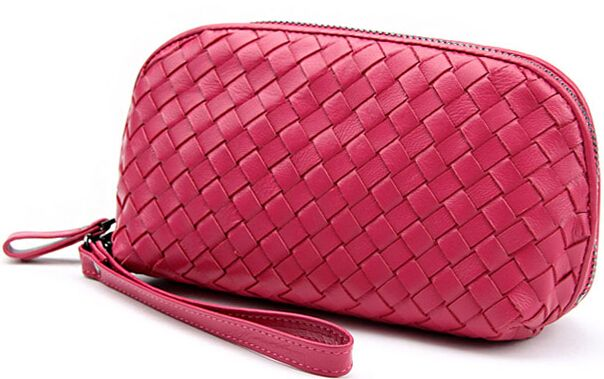 golden woven leather cosmetic organizer bag for lady
