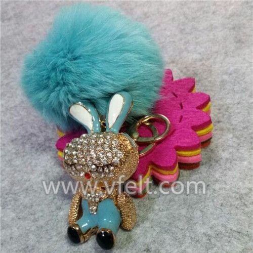 Real Rabbit fur keychain