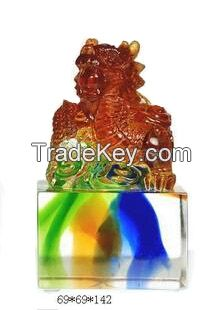 Colorful liu li crafts / crystal liuli dragon seal / stamp