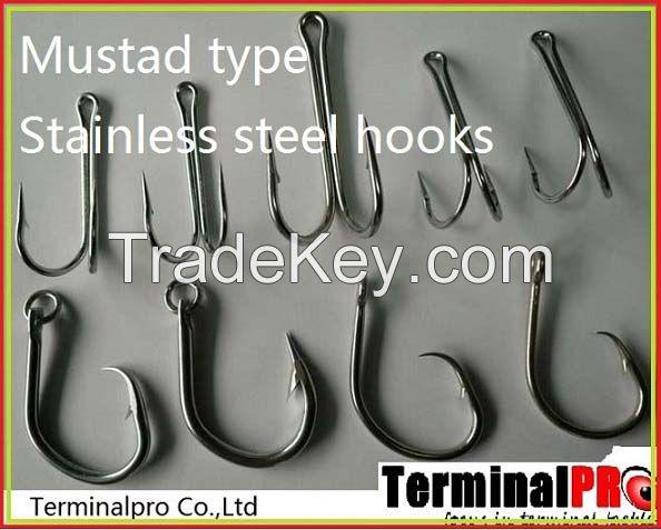Big game Mustad type stainless steel fish hooks