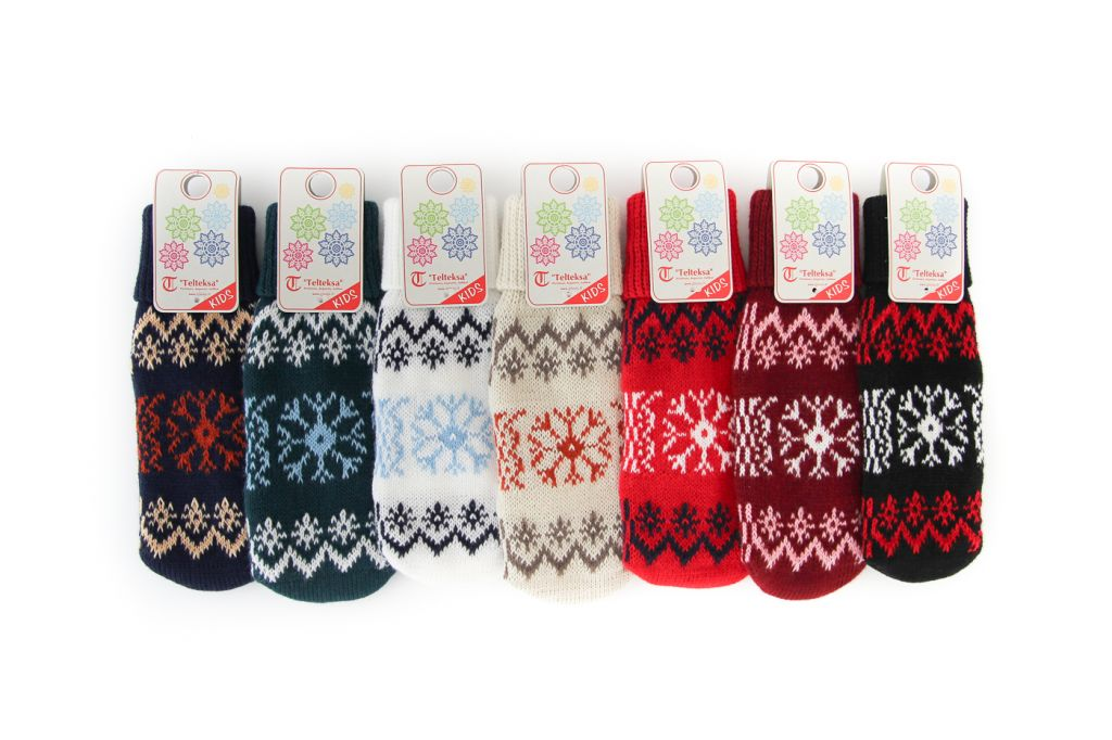 Knitted mittens for children