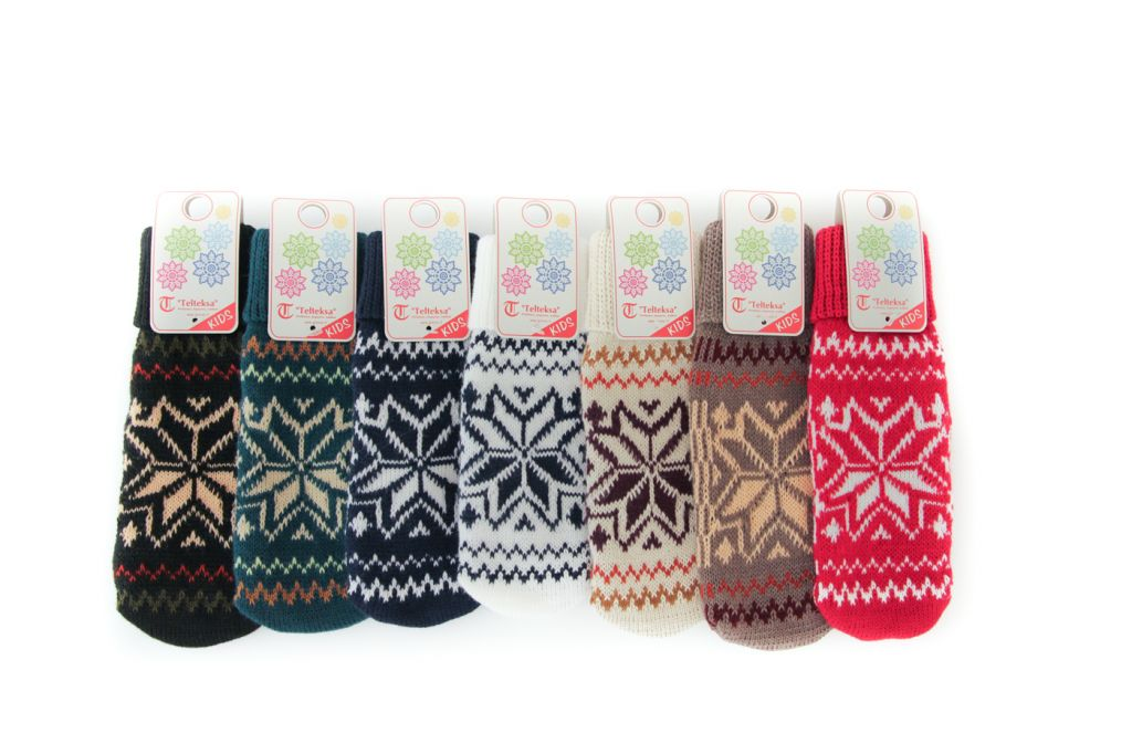 Knitted mittens for children and teenagers