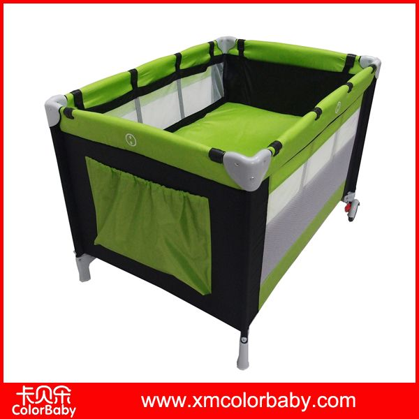 black and green baby playpen with hook second layer BP707B