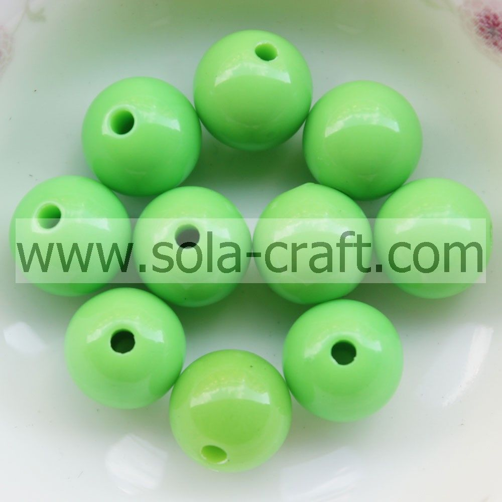 Various colors acrylic solid round smooth beads for wholesale