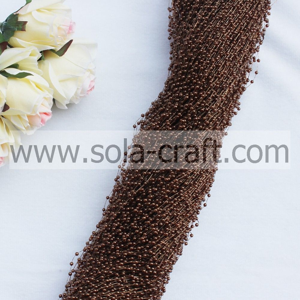 3mm light coffee color wire faux pearl beaded trimming with the length