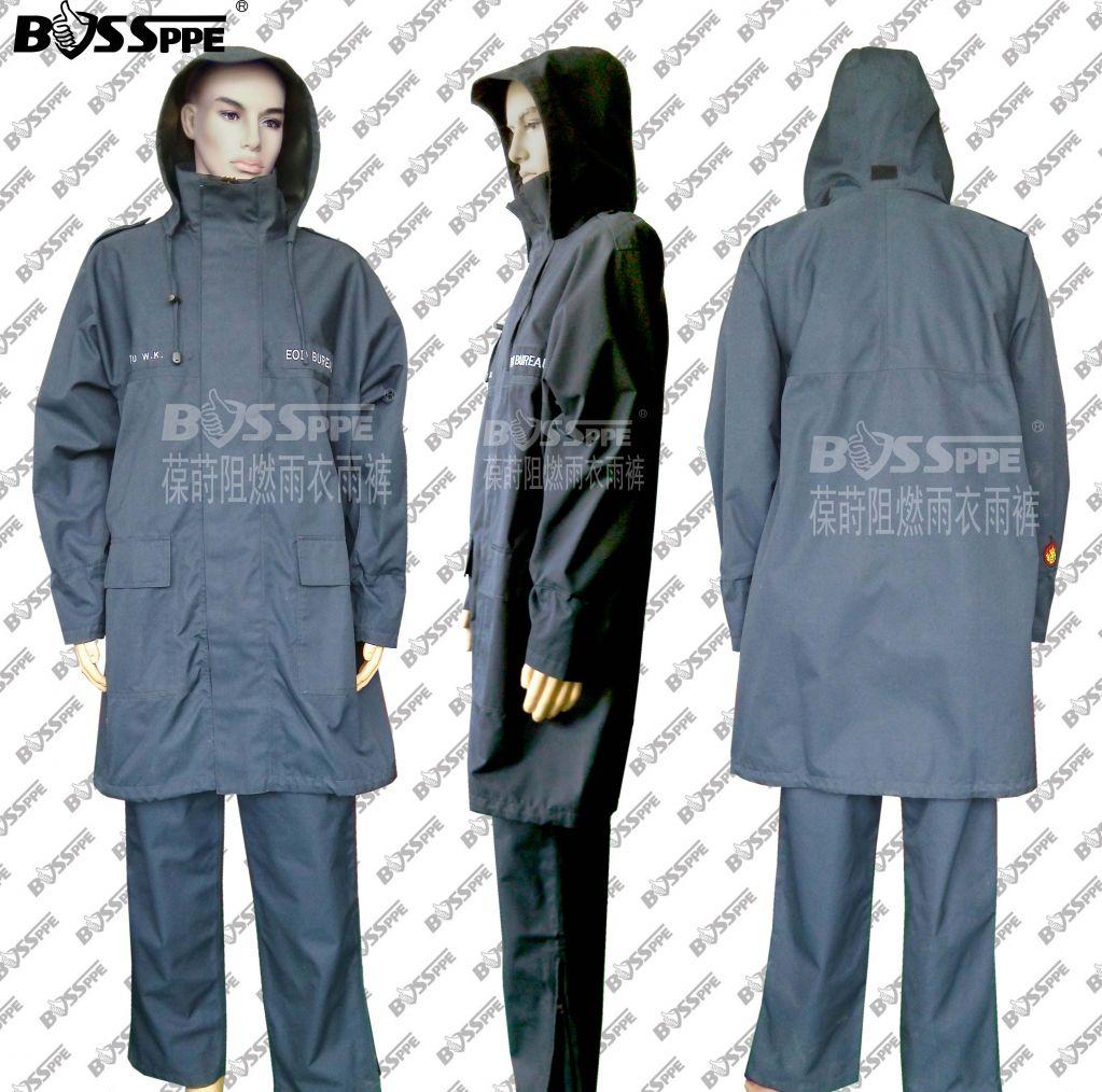 Falme Resistant Rain Jacket Fire Protective Rain Coat Firemen Rain Suit