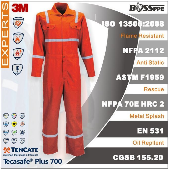 Tencate Tecasafe Plus Flame resistant coverall Anti Electrostaic workwear for petrochemical industry